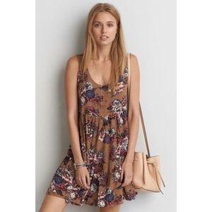 AEO Floral Babydoll Dress Rust Boho